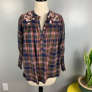 Anthropologie Drhuv Kapoor Plaid Embellished top